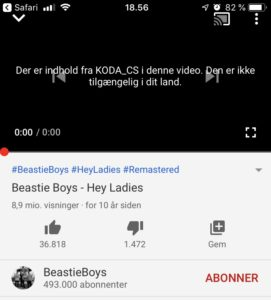Beastie Boys - Hey Ladies - YouTube - Musikvideo blokeret i Danmark