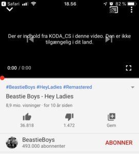 Beastie Boys - Hey Ladies - YouTube - Musikvideo blokeret i Danmark