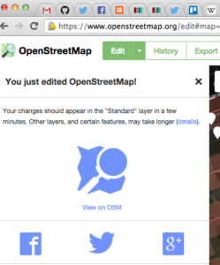 OpenStreetMap – ID Editor – You just edited OpenStreetMap!