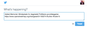 OpenStreetMap – Tweet – Node – Mindeplade for dagbladet Politikens grundlæggelse (3521036042)