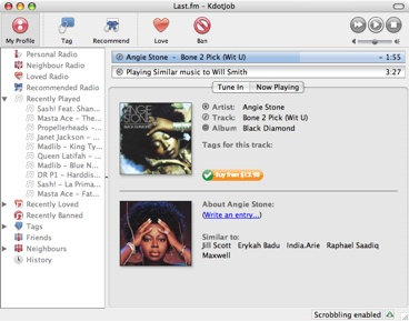 Last.fm client screenshot